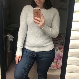 Sweaters - Light Grey Waffle Tight Knit Sweater, Size S